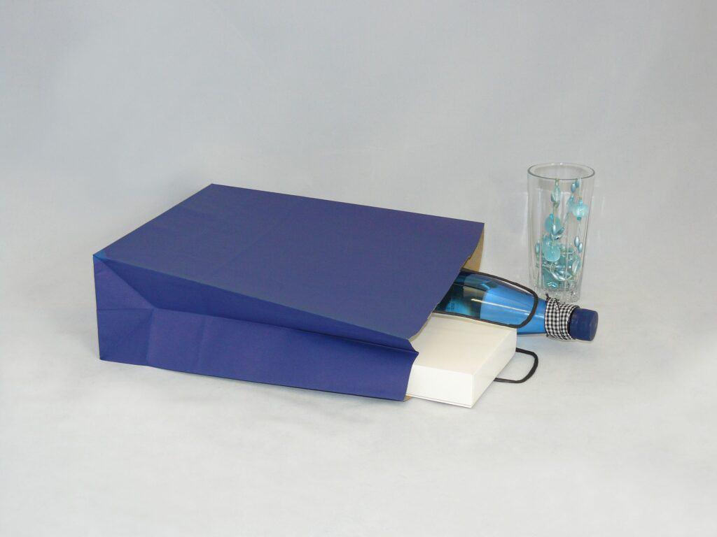 torba papierowa z uchwytem skręcanym granatowa