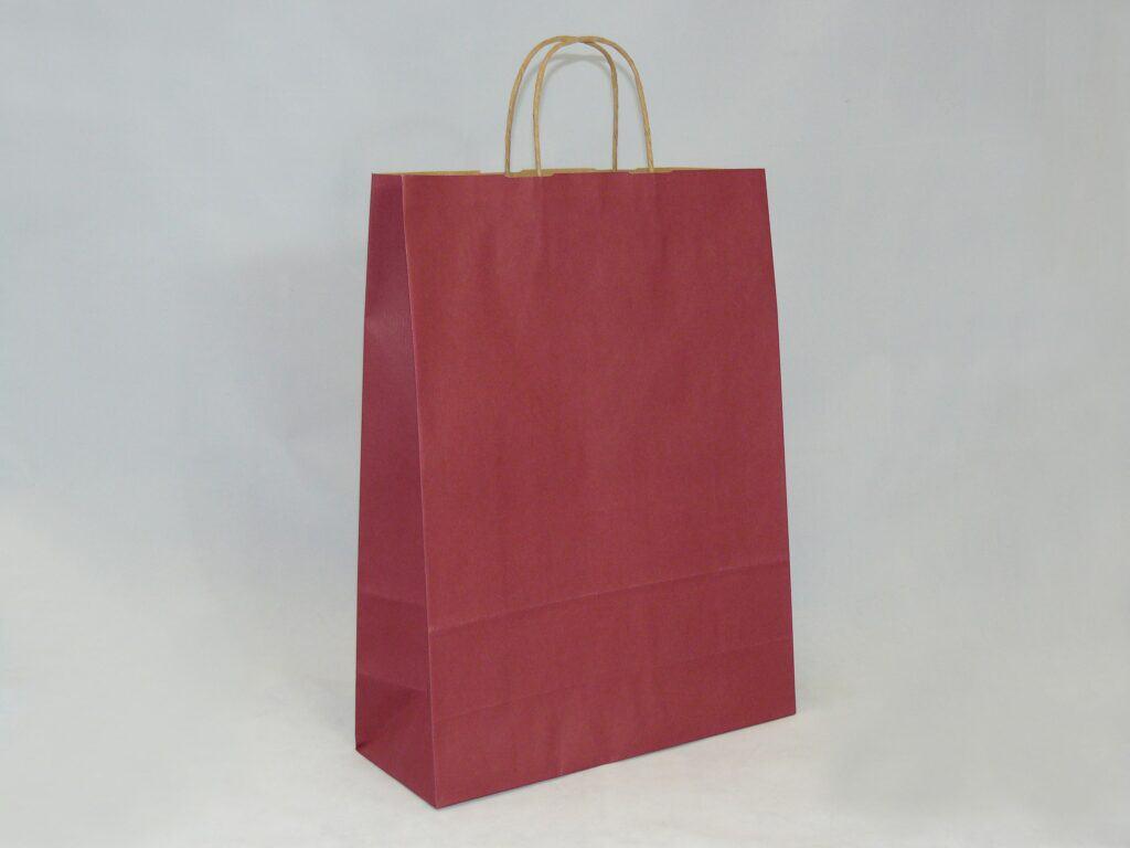 torba papierowa z uchwytem skręcanym bordowa