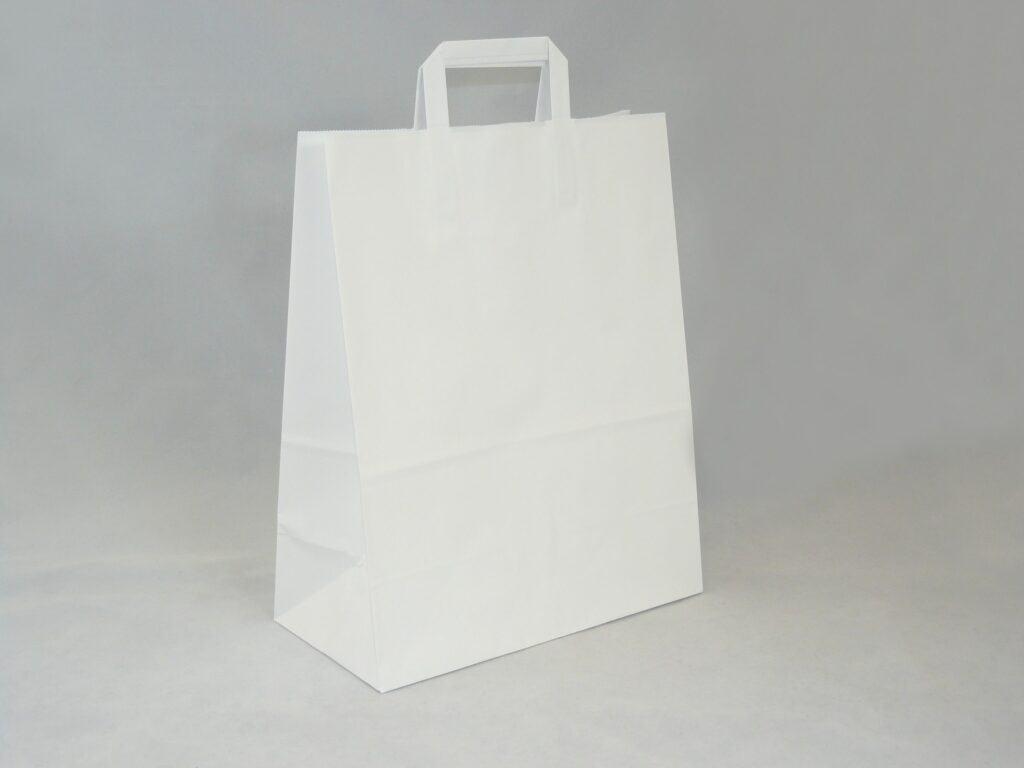 torba papierowa biała z uchwytem płaskim