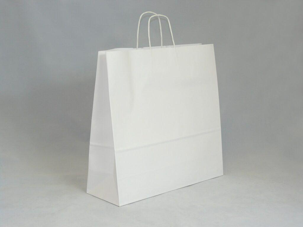 torba papierowa biała z uchwytem skręcanym