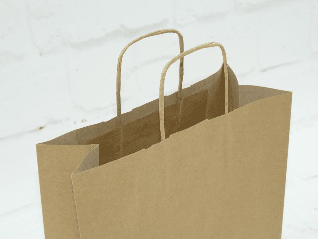 uchwyt do torby papierowej, torba papierowa beżowa z uchwytem skręcanym