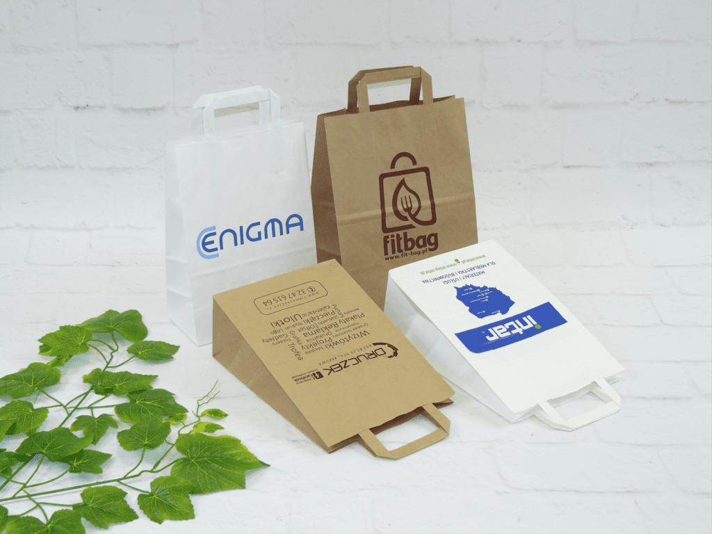 torby papierowe z nadrukiem ucho płaskie