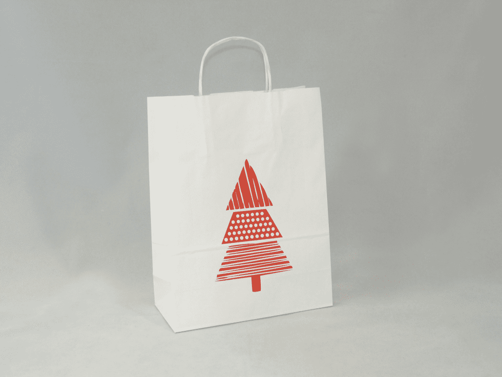 Torba papierowa z nadrukiem świątecznym biała