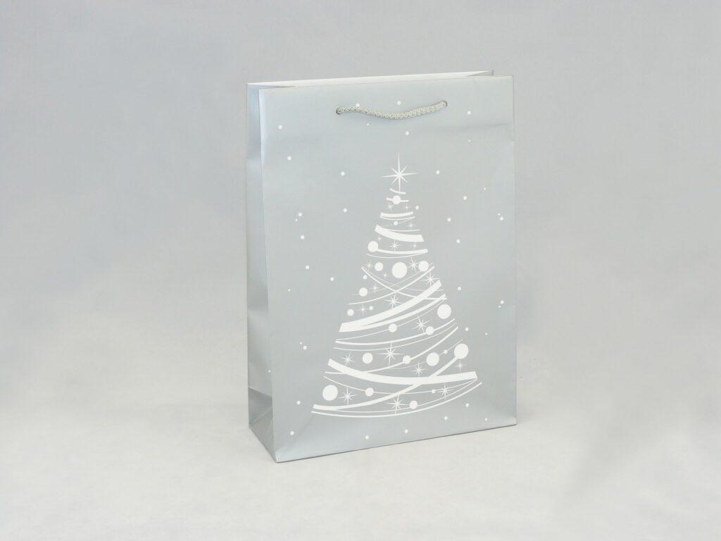 Torba na z nadrukiem świątecznym srebrna